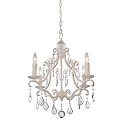 Filament Design 4-Light Ceiling Antique White Chandelier