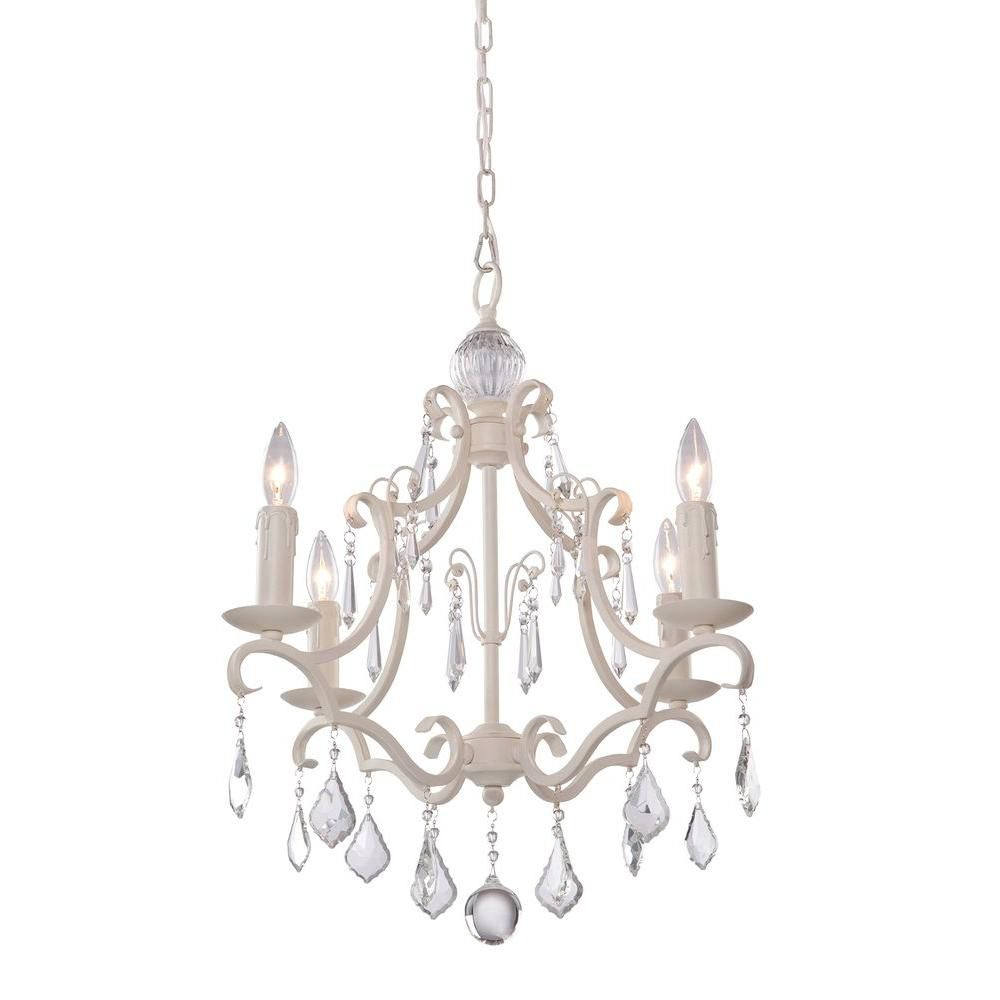 4-Light Ceiling Antique White Chandelier