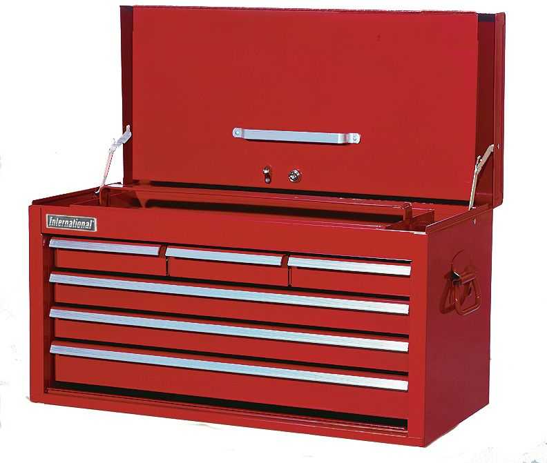 International 26 Inch 6 Drawer Drop Front Top Chest Red