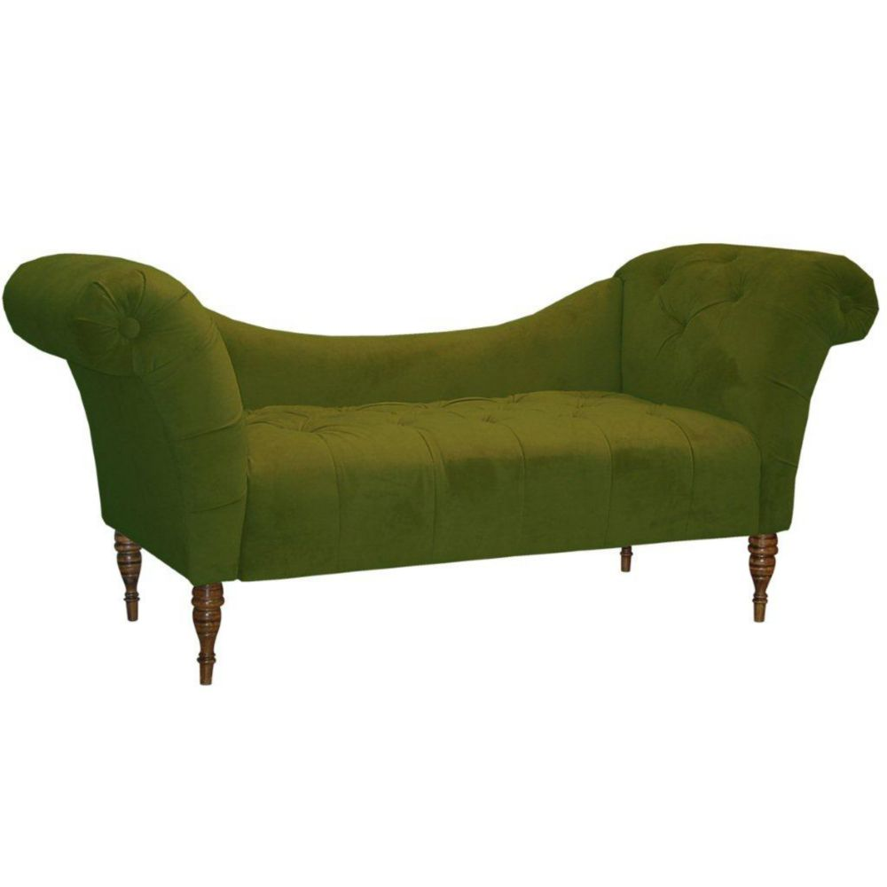 Tufted Chaise Lounge in Velvet Apple Green
