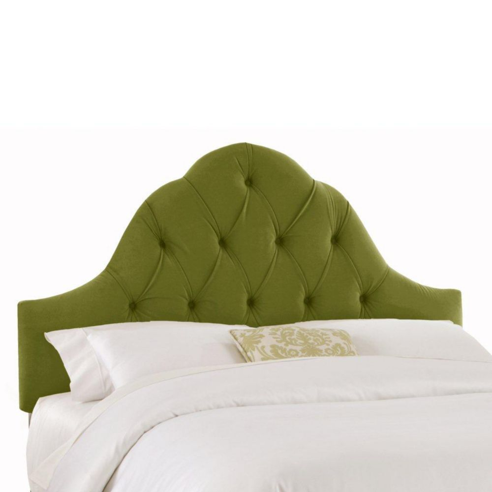 Dossier rembourré pour lit double en velours de ton vert pomme