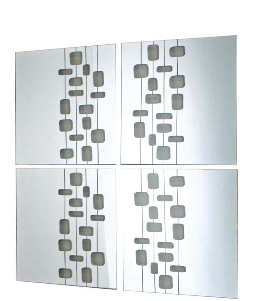 Mosaic-Set of 4 Mirrors With Transparent Design, 14X14 Inch Each