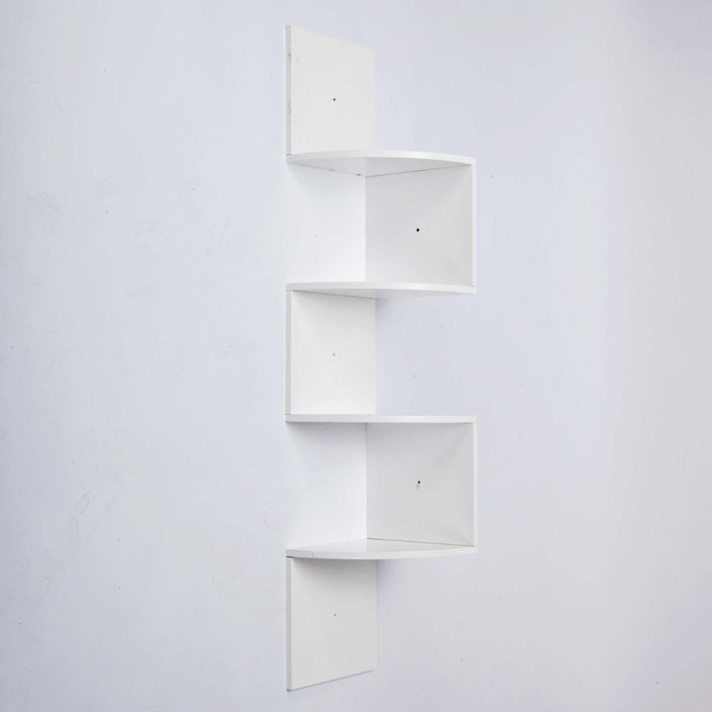 Provo Corner 4 Tier Wood Shelf In White, 57 Inch X12 Inch X12 Inch , Max 20Lb per Shelf FN01460-4INT Canada Discount