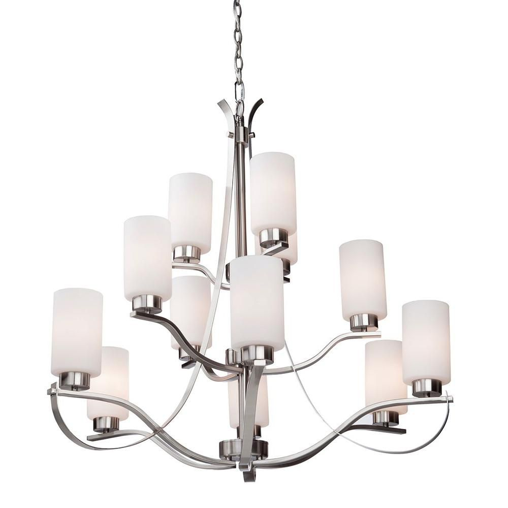 12-Light Ceiling Polished Nickel Chandelier