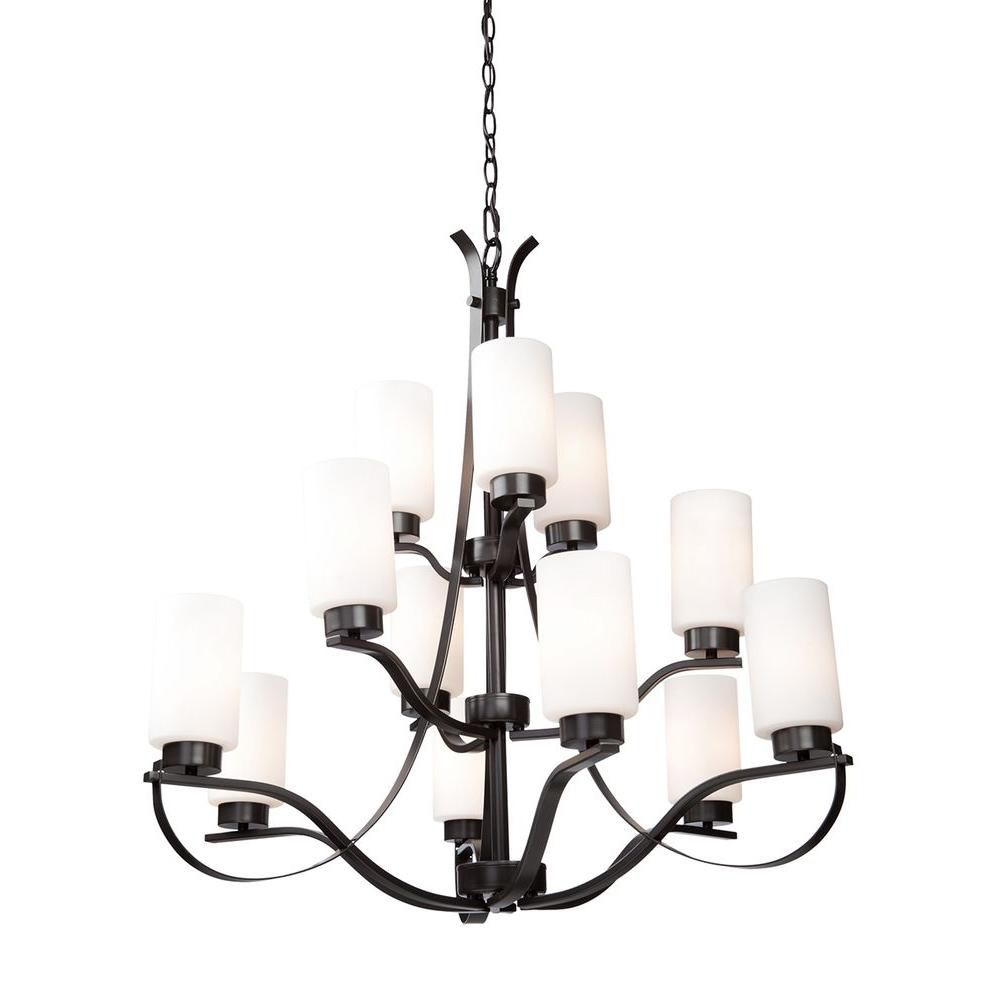 12-Light Ceiling Oiled Bronze Chandelier