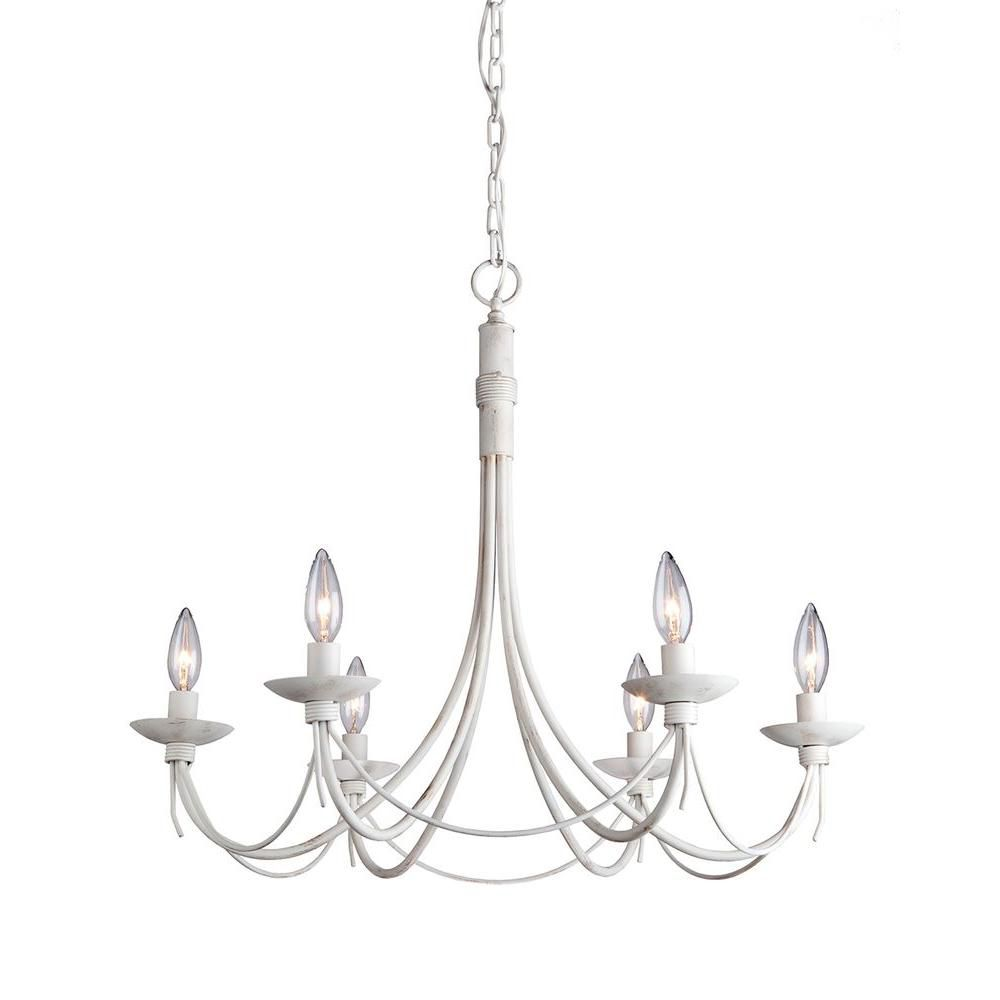 6-Light Ceiling Antique White Chandelier