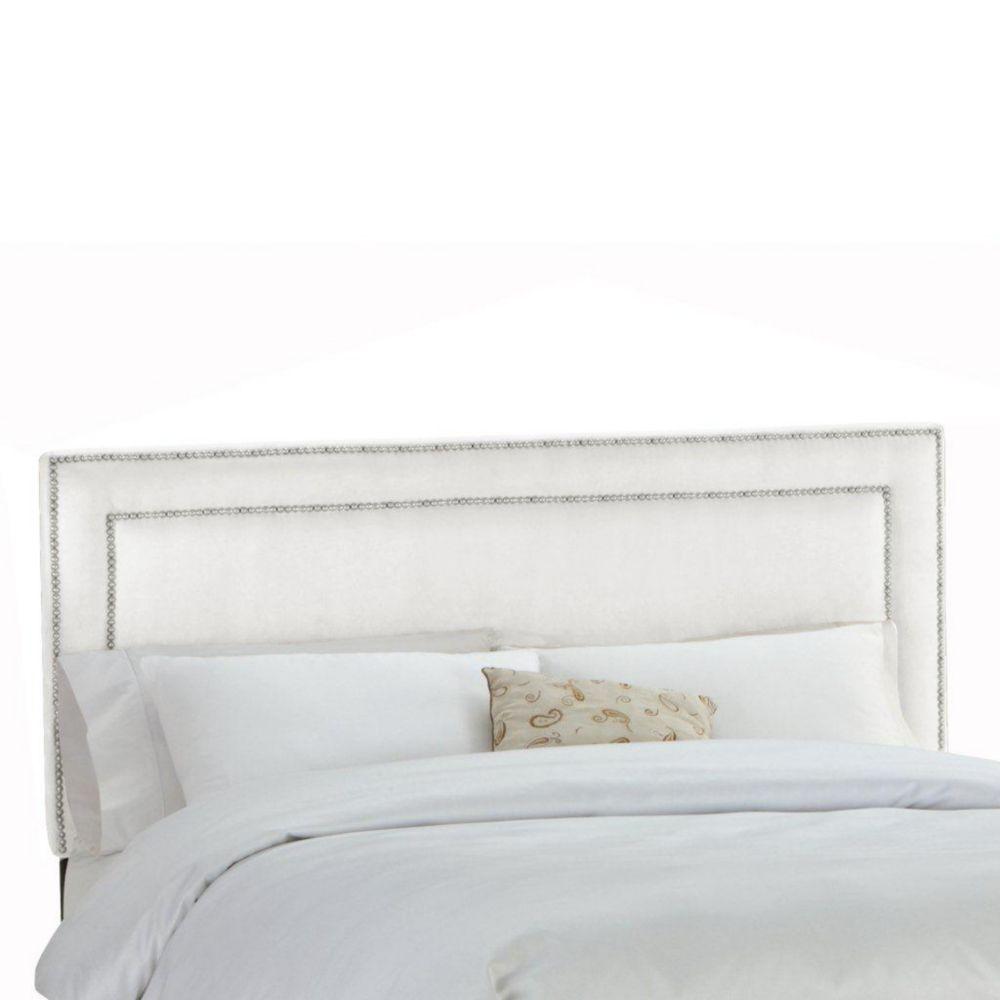 Upholstered California King Headboard in Premier Microsuede White