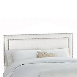 Skyline Furniture Dossier capitonné pour lit très grand california en premier microsuede, blanc