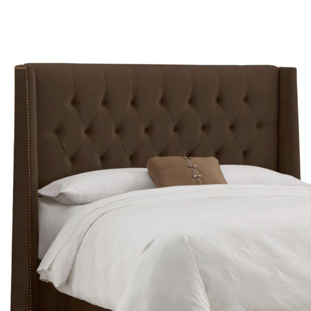 Upholstered Full Headboard in Velvet Chocolate