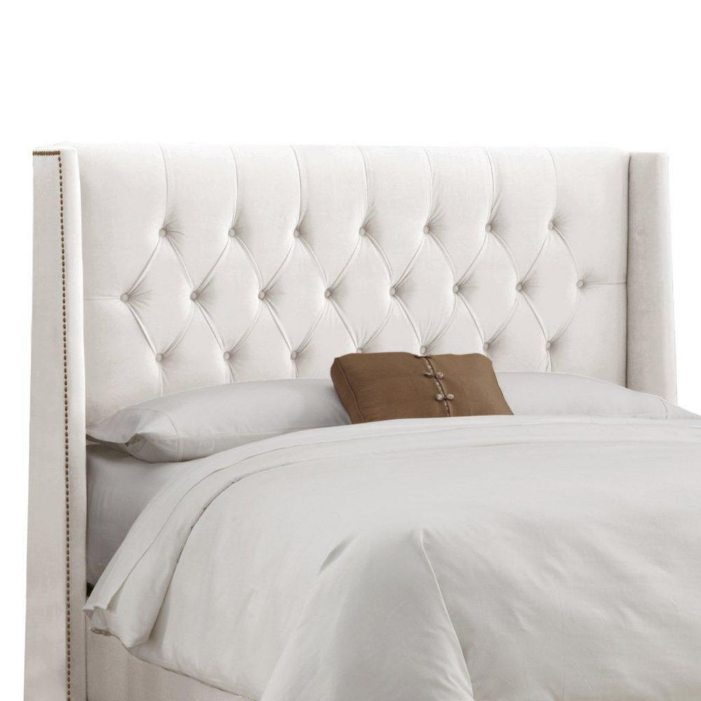 Upholstered Full Headboard in Velvet White