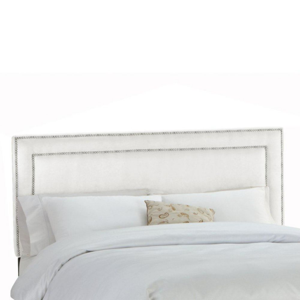 Upholstered Full Headboard in Premier Microsuede White