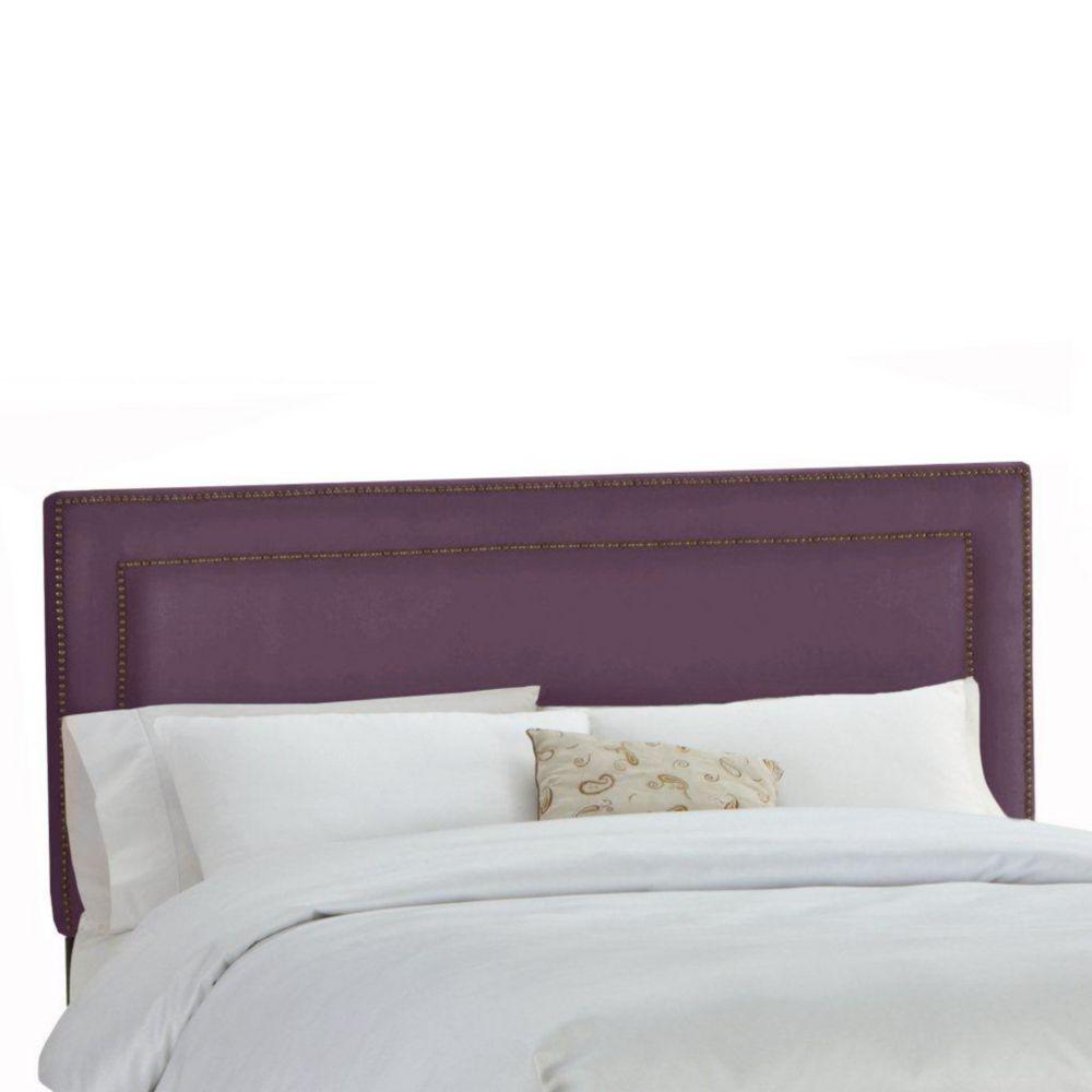 Dossier capitonné pour grand lit en premier microsuede, violet