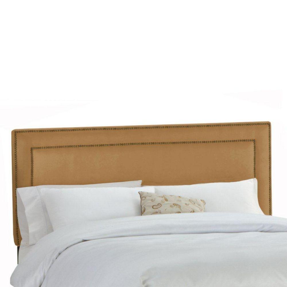 Dossier capitonné pour grand lit en premier microsuede, le tan