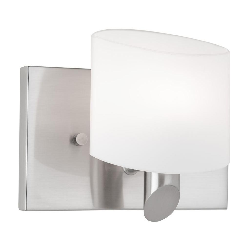 1 Light Wall Brushed Nickel Halogen Bathroom Vanity