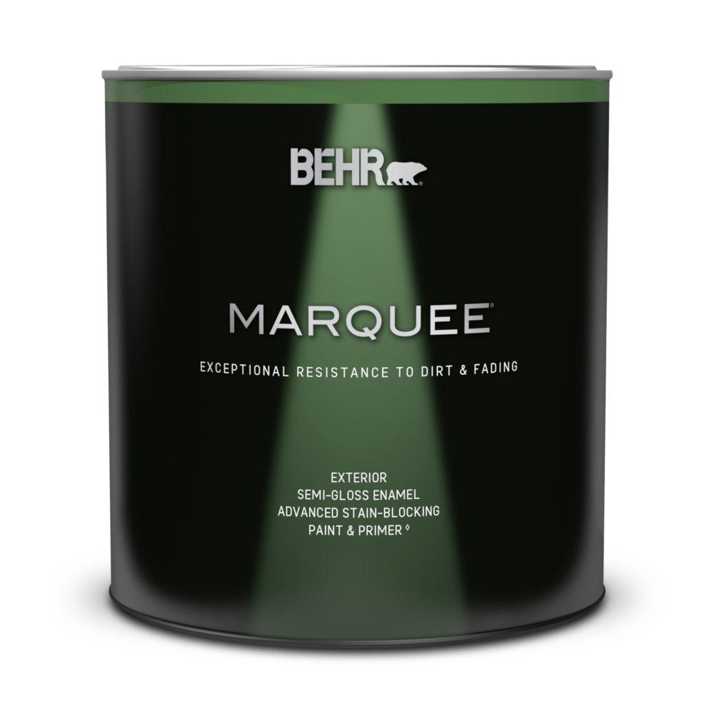 Peinture et apprêt en un BEHR MarqueeMC dextérieur, émail semi-brillant et base moyenne, 946ml