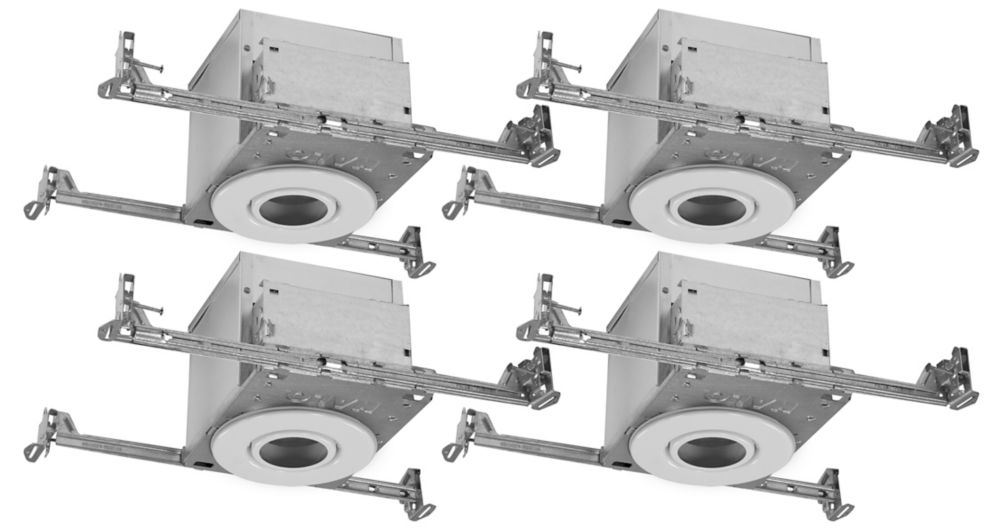 4 Inch White PAR20 Flush Gimbal Trims w 4 Inch IC rated Air-Tite New Construction Housings - 4 Pack
