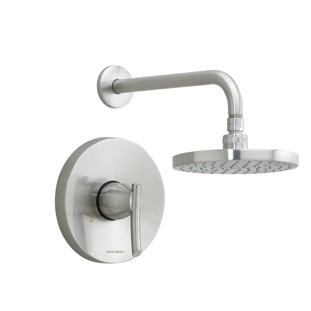 Green Tea Shower Faucet with 6 3/4-inch Rain Showerhead with Shower Arm and Lever Handle in Brass