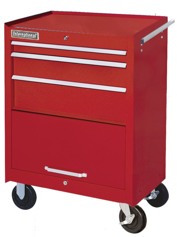 27  Inch. 3 drawer Cabinet, with Storage Compartment, Red