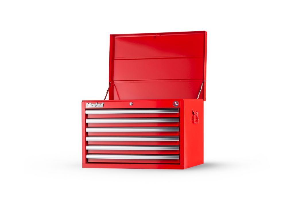 27  Inch. 6 drawer deep Chest, Red