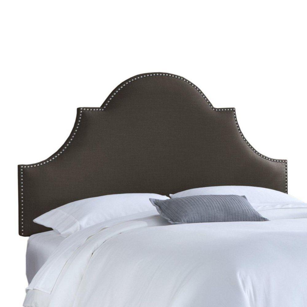 Dossier capitonné pour lit très grand en lin de ton charbon