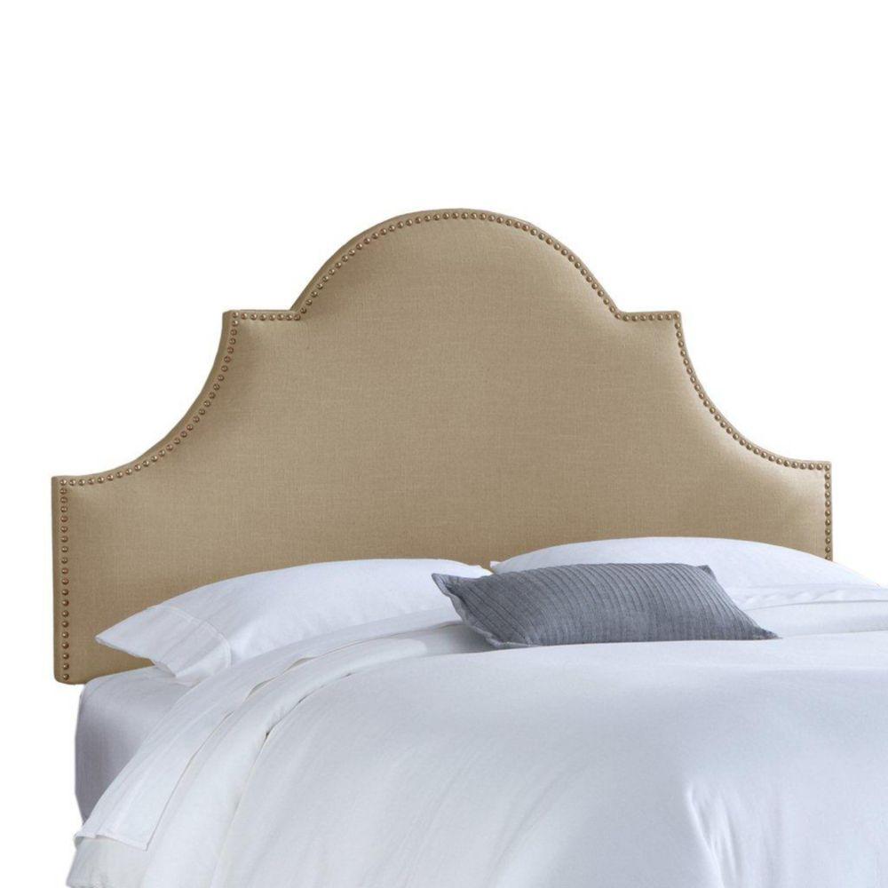 Dossier capitonné pour lit très grand california en lin de ton gres