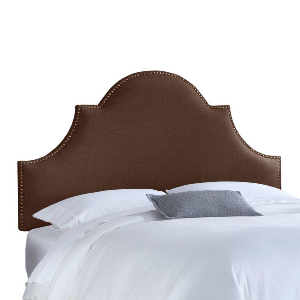 Dossier rembourré pour lit double en lin de ton chocolat