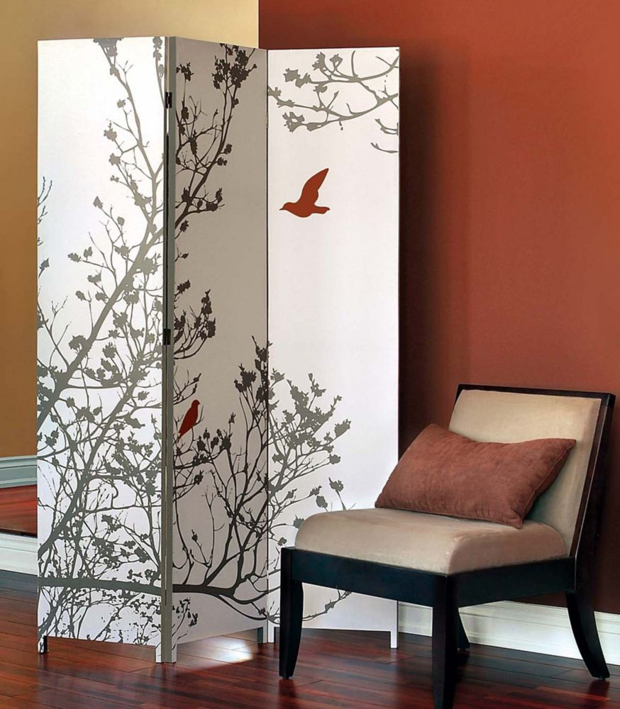 Bota Triple Canvas Screen, Tree With Red Bird. 48 Inch X71 Inch X1 Inch