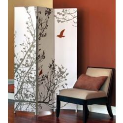 nexxt Bota 48-inch x 71-inch x 1-Inch Triple Canvas Screen Room Divider with Tree and Red Bird Pattern