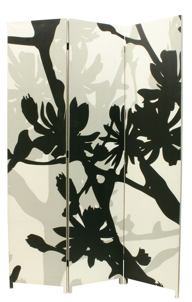 Bota Triple Canvas Screen, Floral Design In Black/White/Taupe.48 Inch X71 Inch X1 Inch