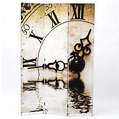 Bota Stretched Canvas Triple Panel Floor Screen Room Divider - Double Sided Artwork - Clock Design 47.5x71x1 Inch.