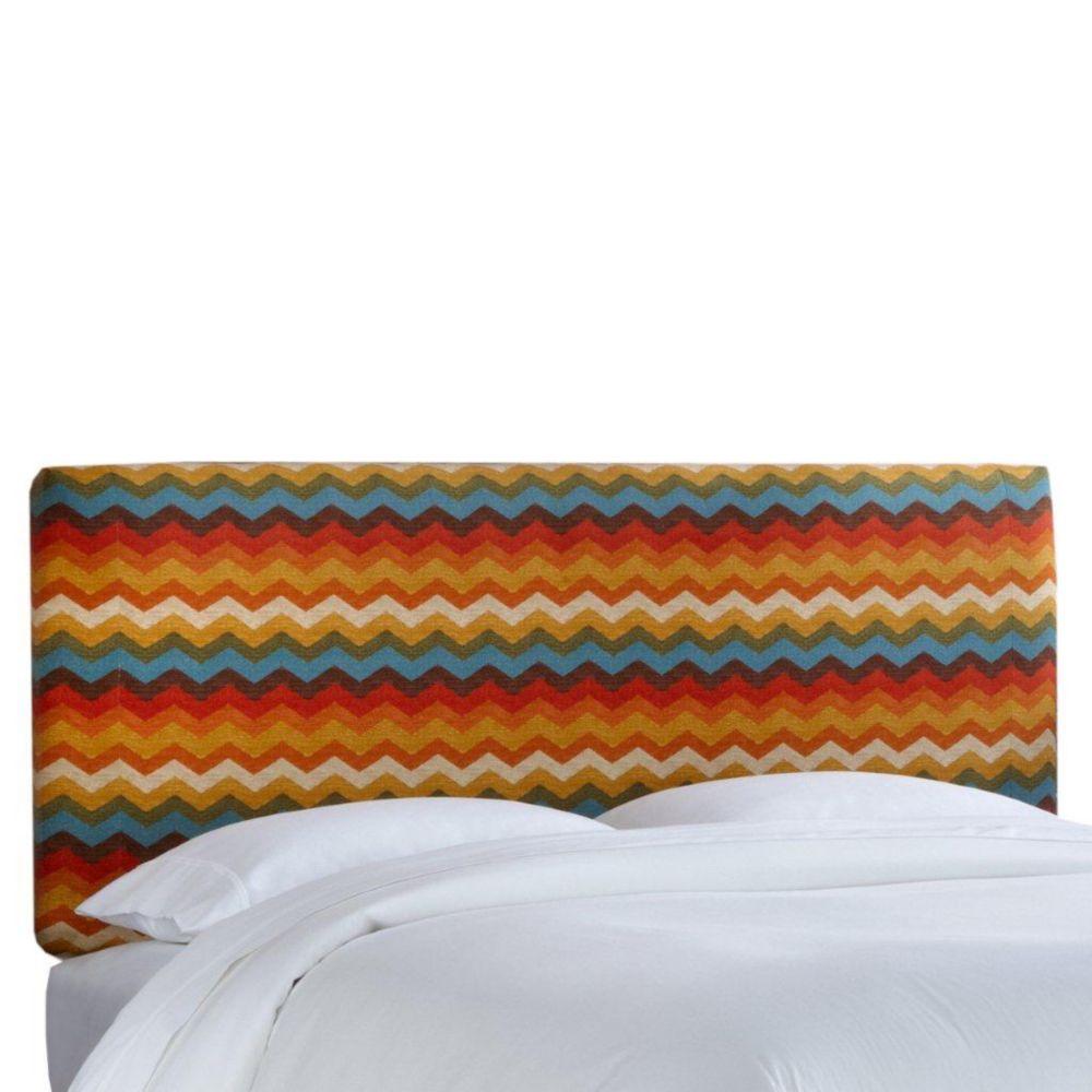 Housse pour tête de grand lit en tissu Panama ondes de ton Adobe