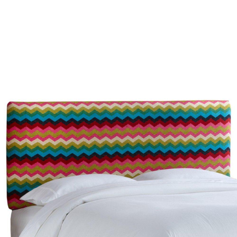 Housse pour tête de très grand lit en tissu Panama ondes de ton Fleur du désert