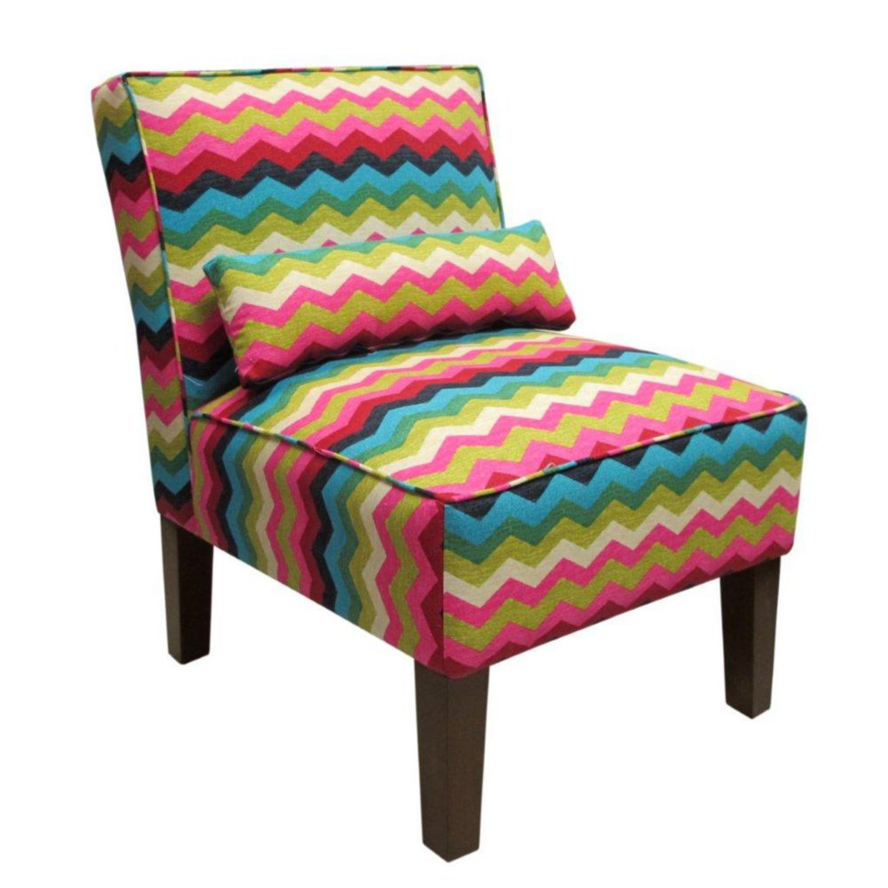 Upholstered Armless Chair in Panama Wave Desert Flower