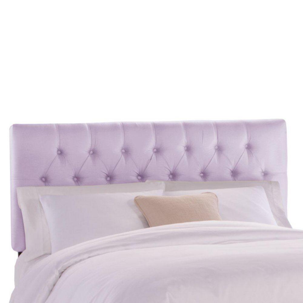 Tête de très grand lit étroit capitonnée en tissu shantung de ton lilas