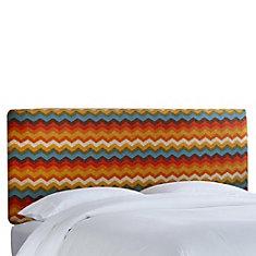 Housse pour tête de lit double en tissu Panama ondes de ton Adobe