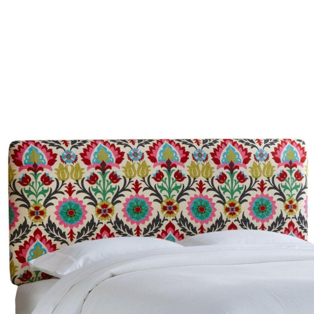 Housse pour tête de très grand lit en tissu Santa Maria de ton fleur du désert