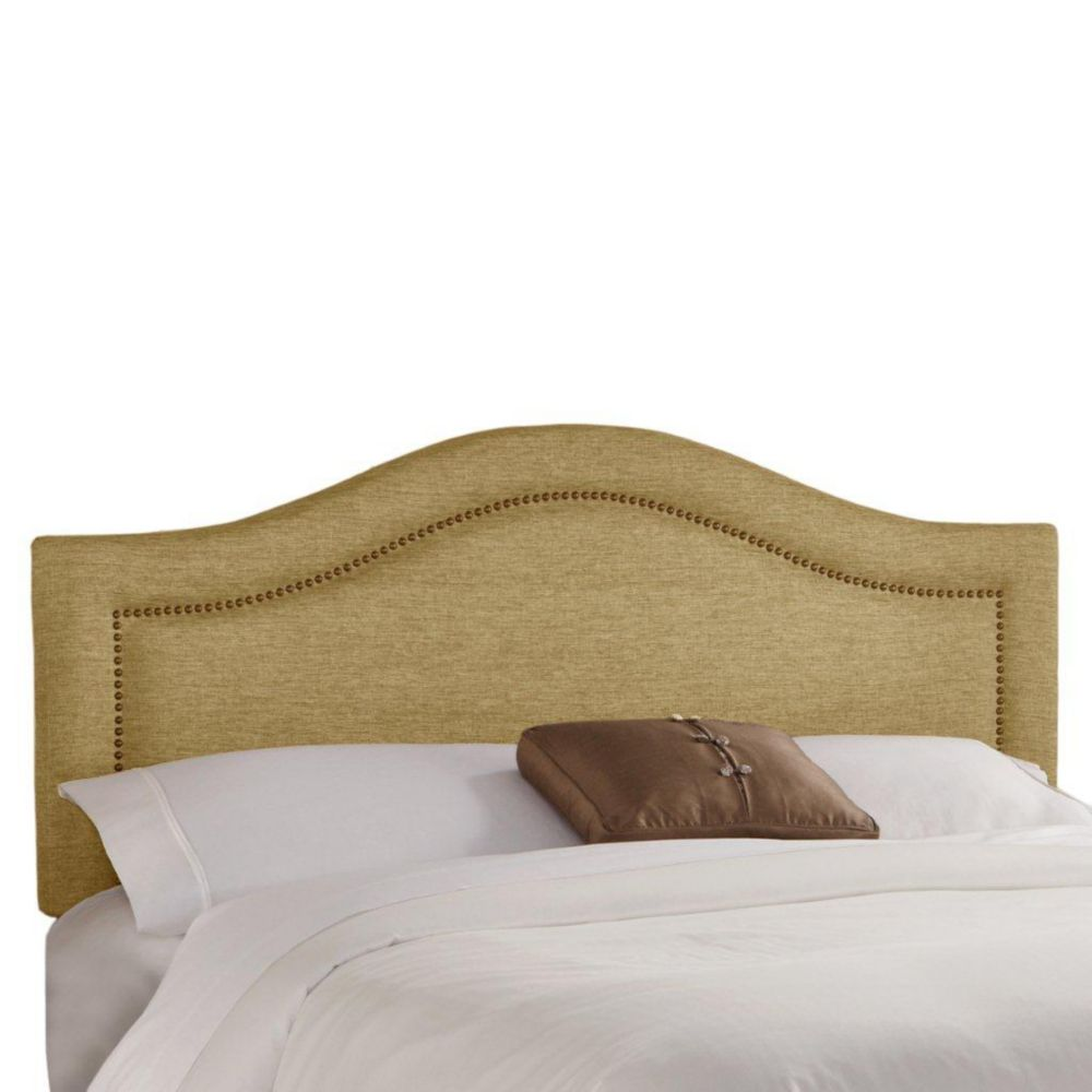 Queen Inset Nail Button Headboard in Glitz Filbert with Brass Nail Buttons