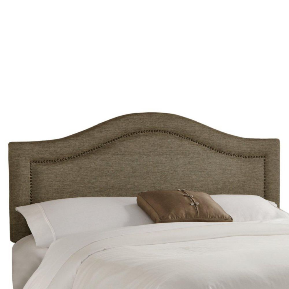 California King Inset Nail Button Headboard in Groupie Gunmetal with Brass Nail Buttons