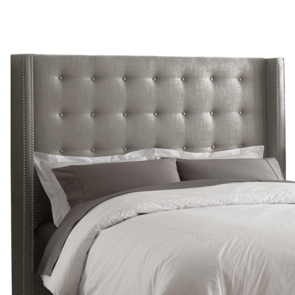 King Nail Button Tufted Headboard in Linen Grey with Pewter Nail Buttons