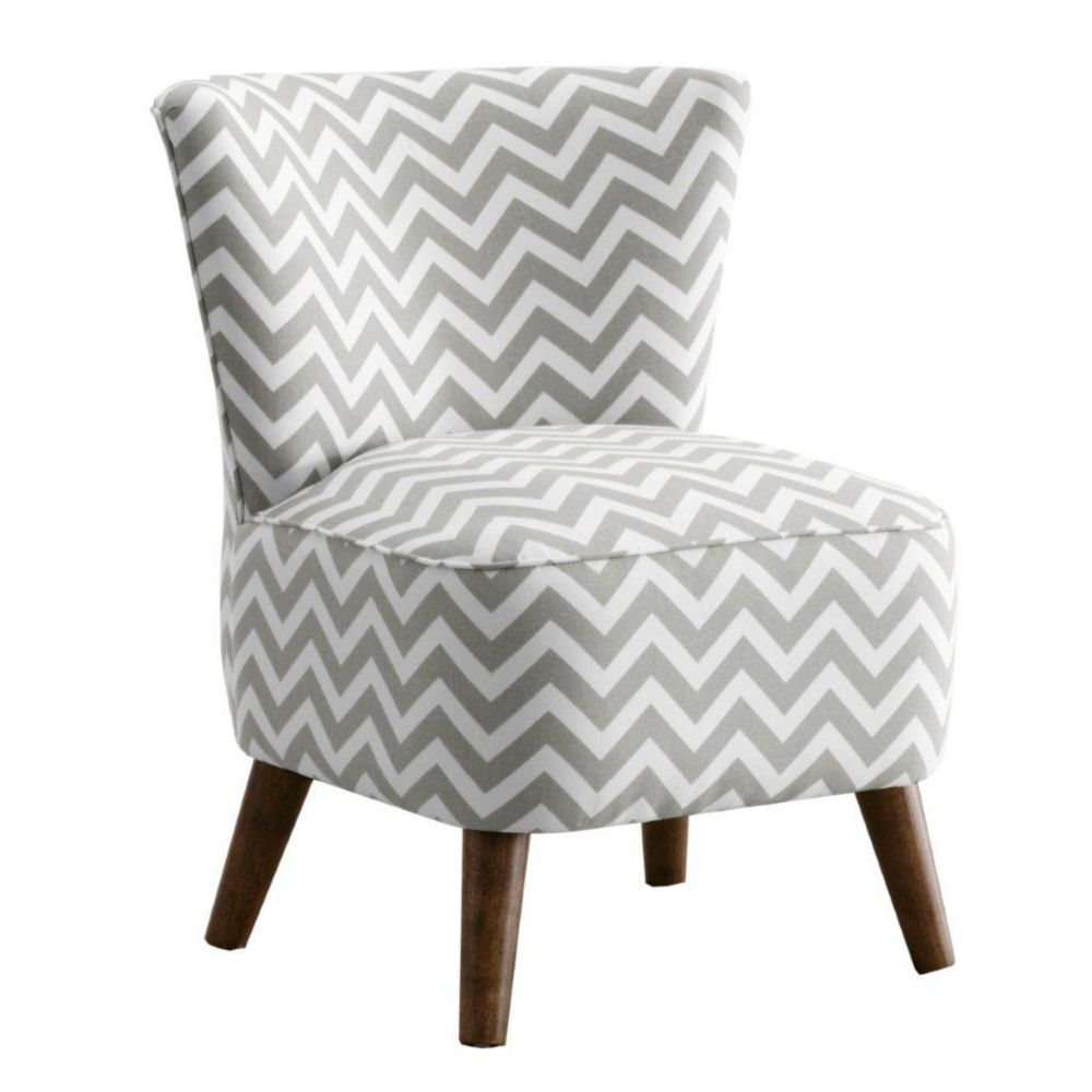 Mid Century Modern Chair in Zig Zag Grey
