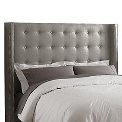 Skyline Furniture Tête de grand lit capitonnée en lin de ton gris enjolivée de têtes de clous en étain
