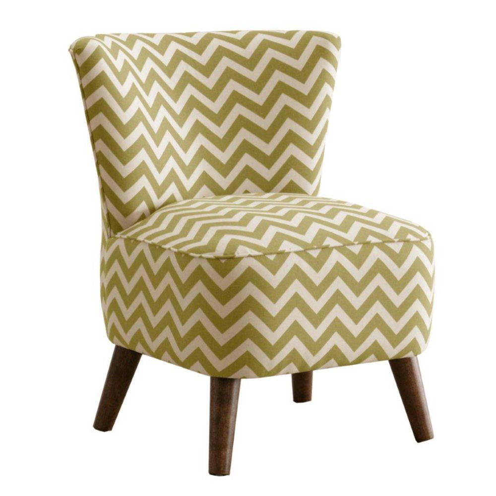 skyline furniture chaise de style moderne en tissu motif en zig zag de ton vert chartreuse. Black Bedroom Furniture Sets. Home Design Ideas