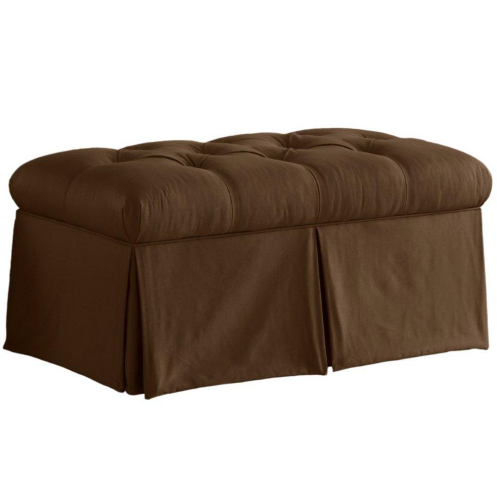 Skirted Storage Bench in Shantung Chocolate