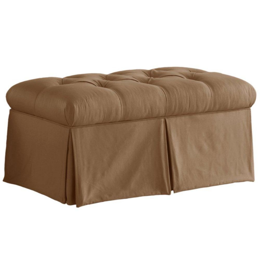 Skirted Storage Bench in Shantung Khaki