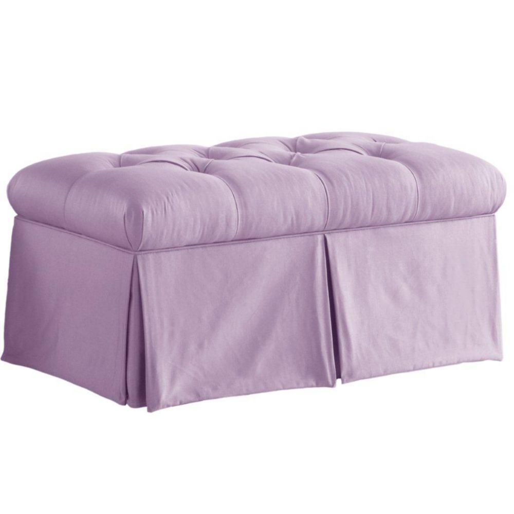 Skirted Storage Bench in Shantung Lilac