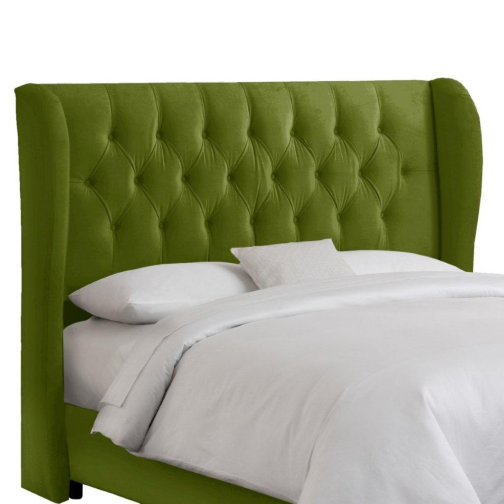 Queen Tufted Wingback Headboard in Velvet Apple Green