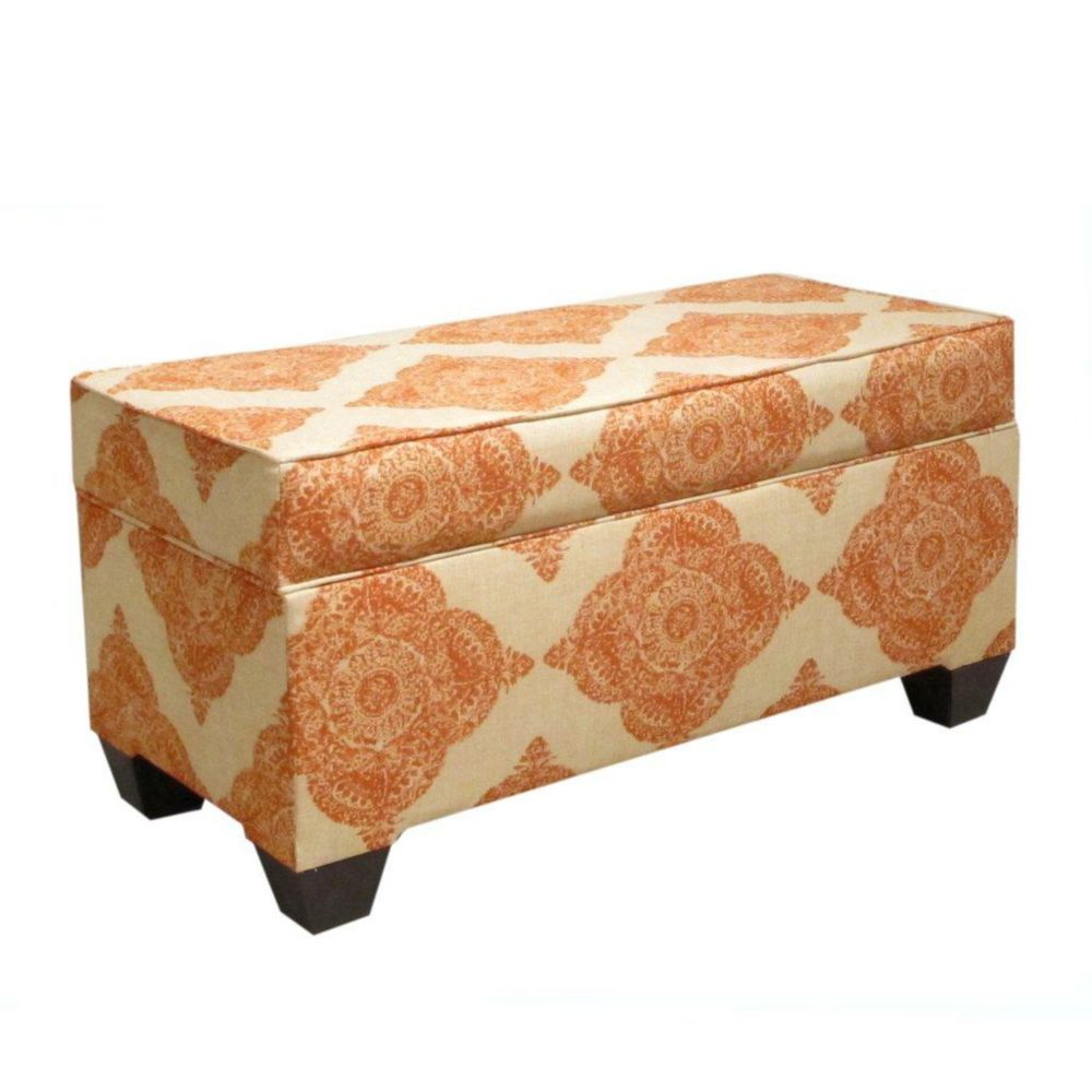 Upholstered Storage Bench in Mani Terracotta