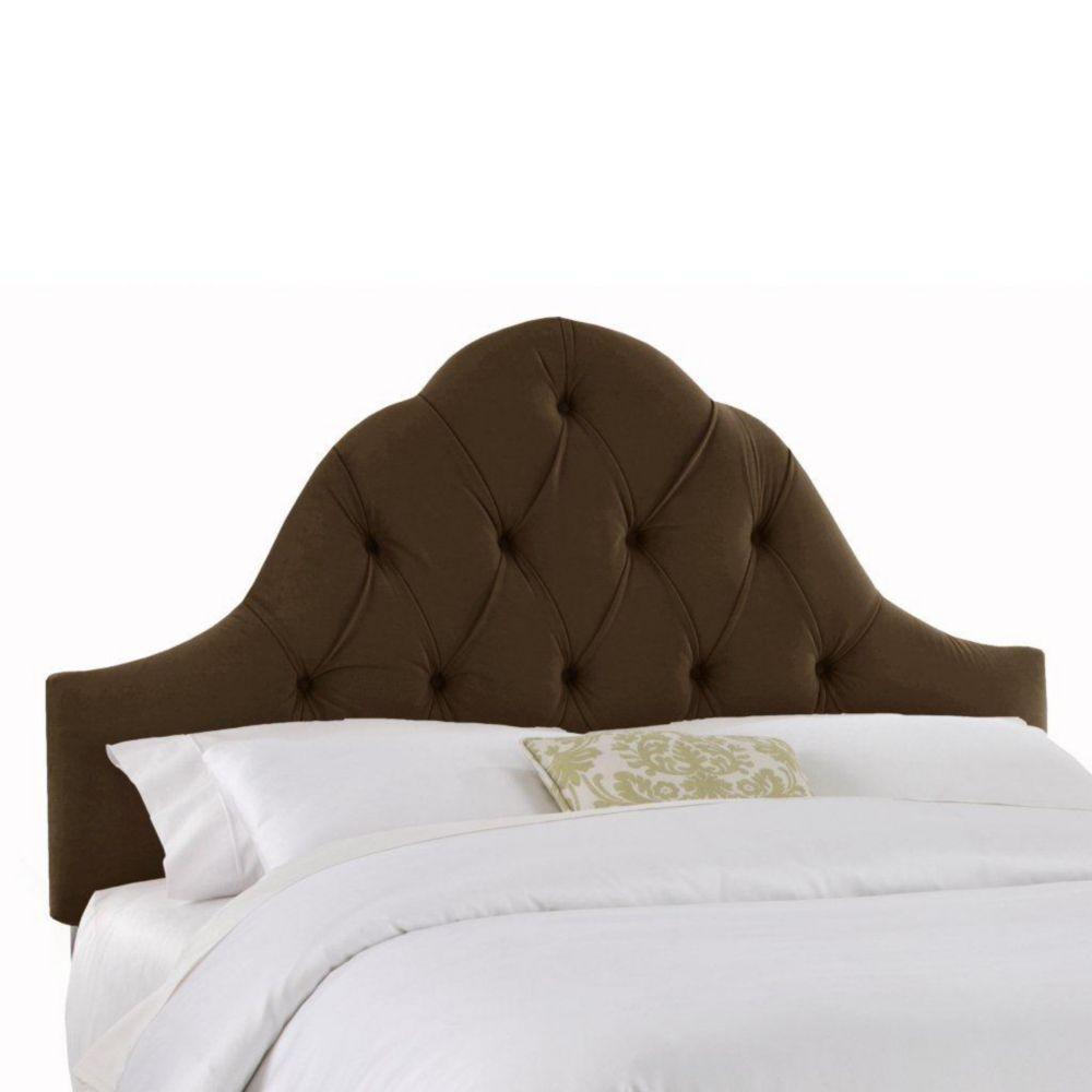 Dossier rembourré pour lit double en velours de ton chocolat