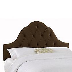 Skyline Furniture Dossier rembourré pour lit double en velours de ton chocolat