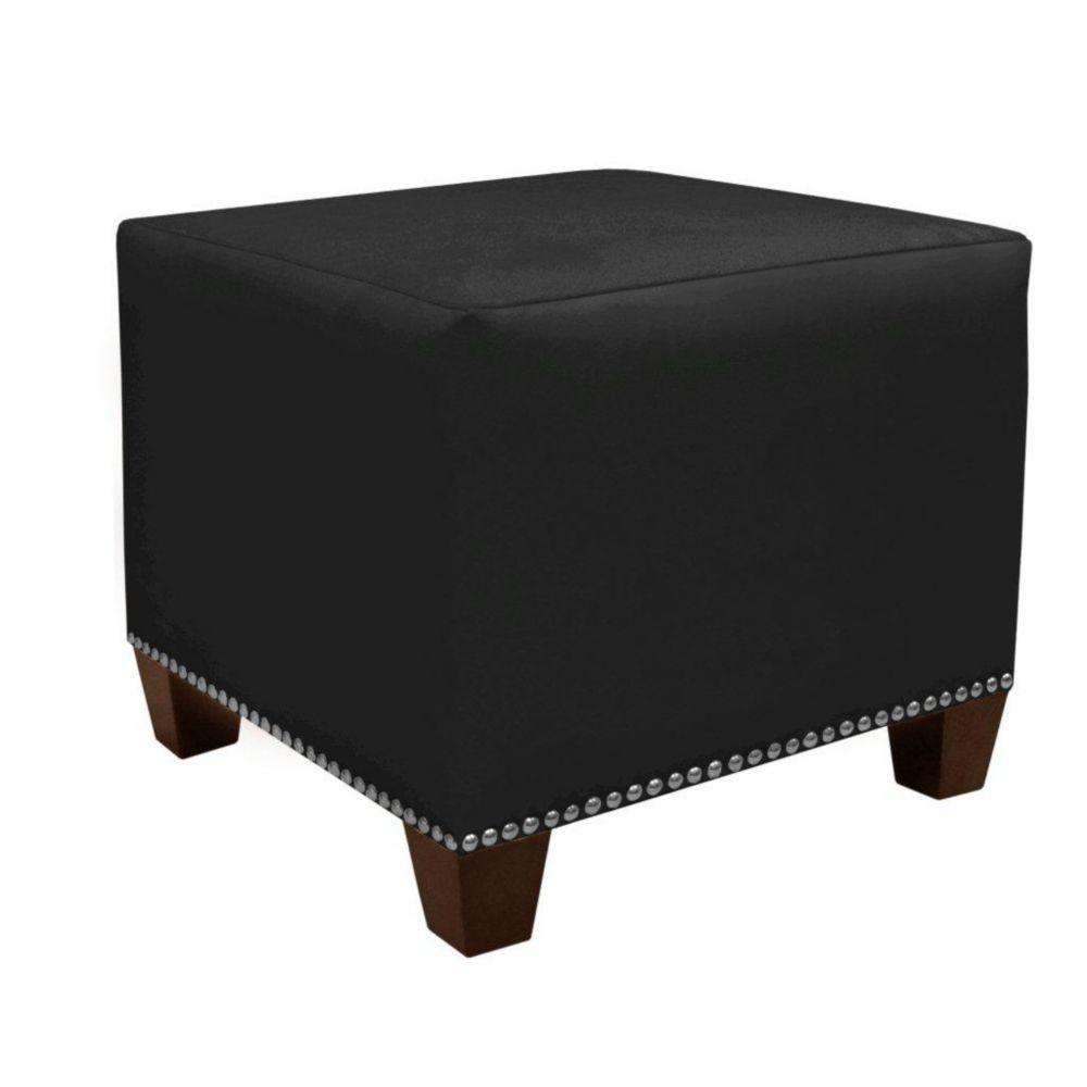 Square Ottoman in Premier Microsuede Black